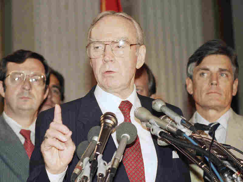 """House Speaker Jim Wright holds a news conference on Capitol Hill on Aug. 6, 1987, commenting that """"he earnestly hoped"""" President Reagan's cease-fire proposal to the Nicaraguan government succeeded."""