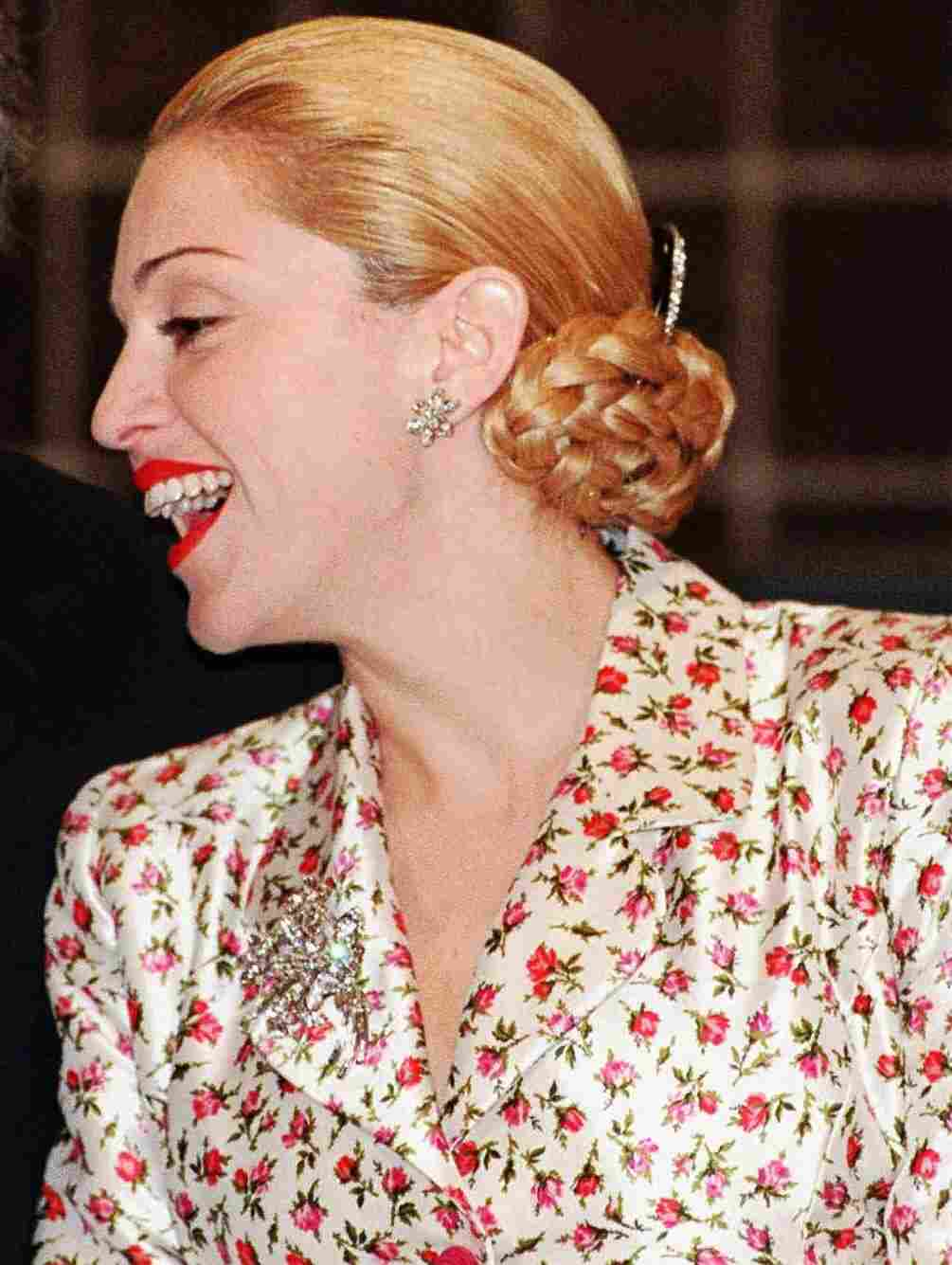 Madonna on a press tour before filming of Evita began in 1996.