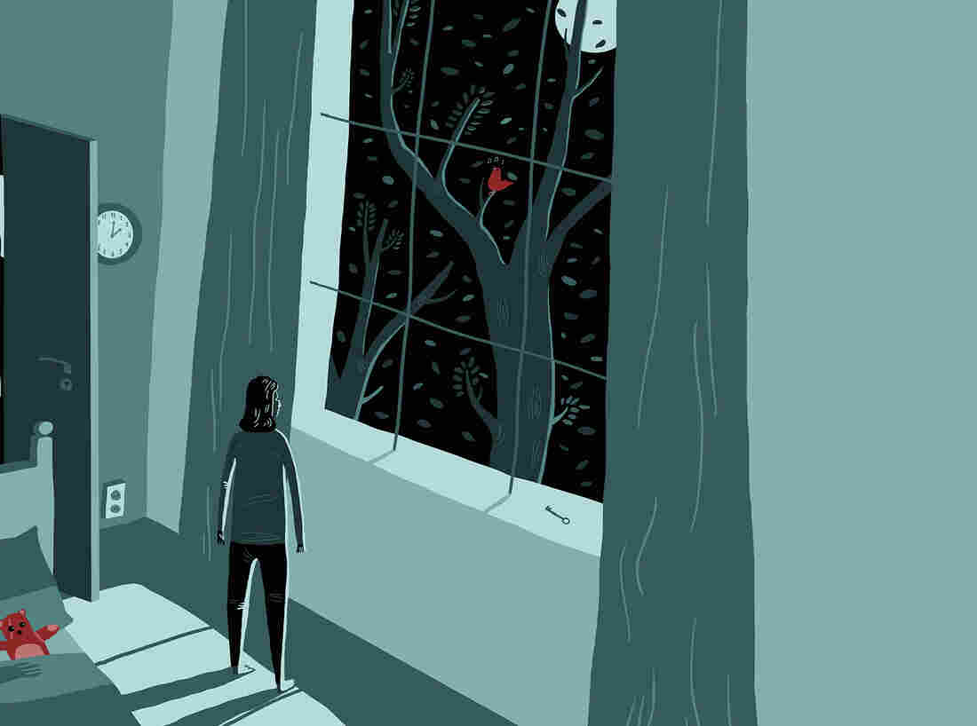 Illustration of woman looking out the window at a nighttime sky at 2 a.m.