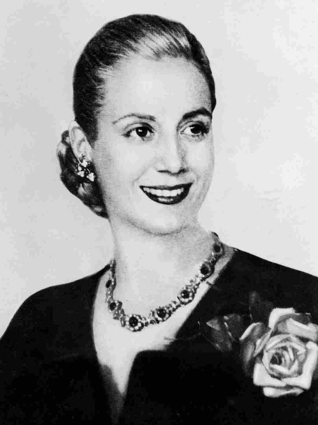 Eva Peron, known as Evita, the second wife of Argentine President Juan Peron, was a radio and screen actress before her marriage in 1945. She became a powerful political influence and a mainstay of the Peron government.