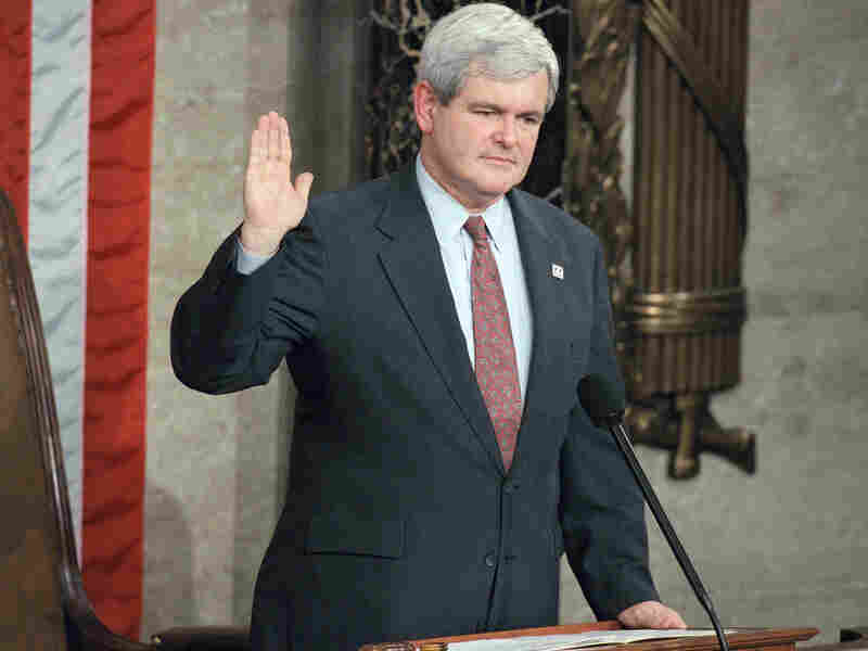Rep. Newt Gingrich, R-Ga. is sworn in as House speaker on Jan. 4, 1995, in the House chambers on Capitol Hill in Washington.
