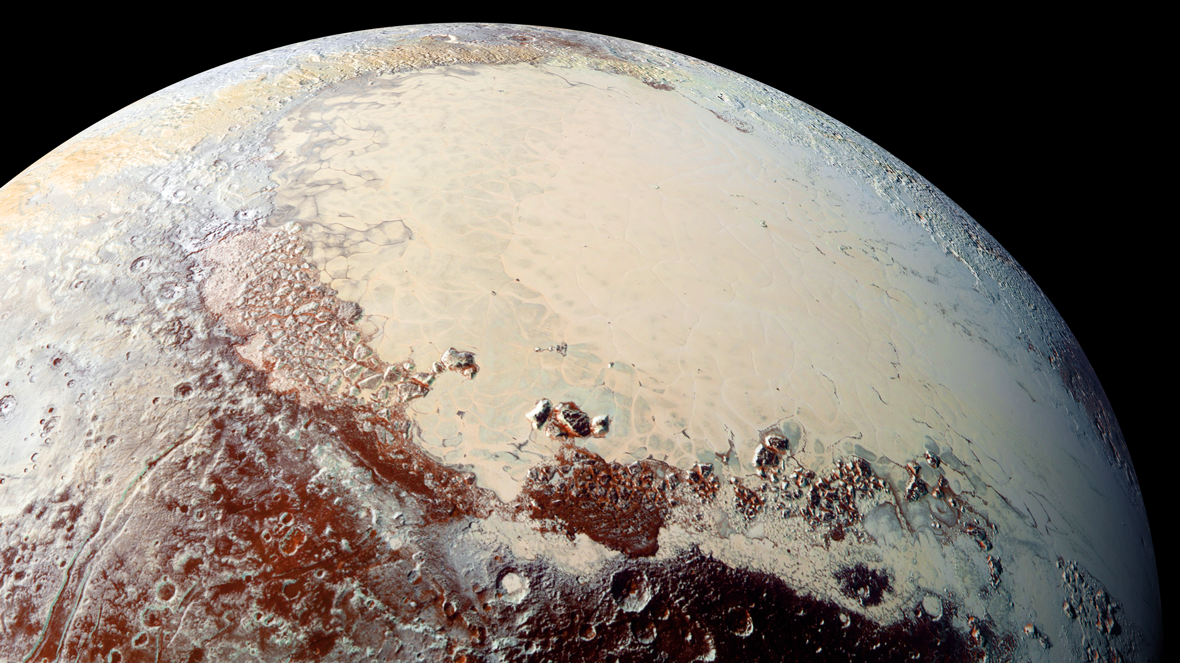 The heart-shaped glacier on Pluto's surface is made of nitrogen, carbon monoxide and methane. Researchers aren't sure how it formed.