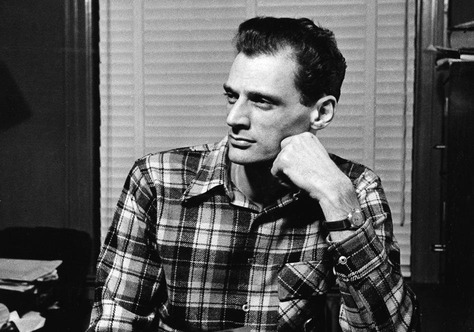Playwright Arthur Miller sits at his typewriter in New York City in 1949, the same year he won the Pulitzer Prize for drama for <em>Death of a Salesman</em>. (AP)