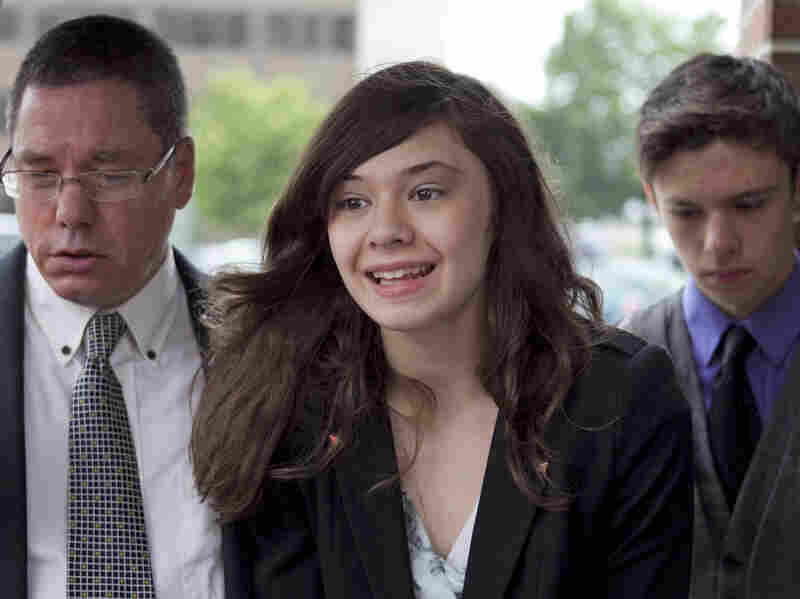 Transgender student Nicole Maines (accompanied by her father, Wayne, and her twin brother, Jonas) speaks to reporters after winning on appeal a discrimination lawsuit against her school district. In 2014, Glamour magazine named Maines one of its 50 inspiring women of the year.