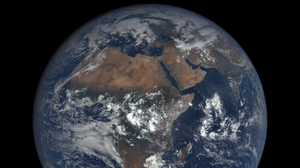 A view of Earth as seen from EPIC, the Earth Polychromatic Imaging Camera.