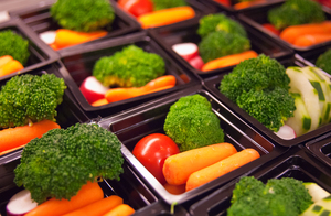 Fresh vegetable cups prepared for the National School Lunch Program at Washington-Lee High School in Arlington, Va.