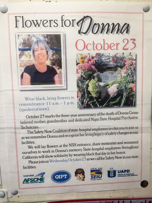A 2013 flier, still posted on a union hall bulletin board, details a remembrance day held for Donna Gross, the Napa State Hospital employee murdered on hospital grounds on Oct. 23, 2010.