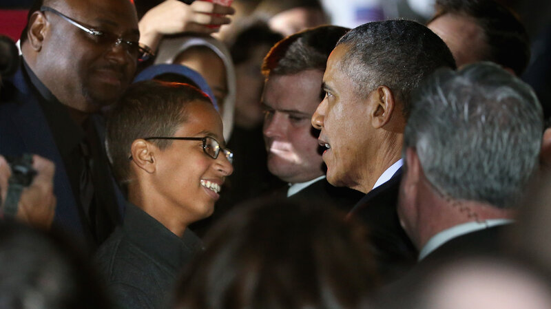 President Barack Obama talks with Texas high school student Ahmed Mohamed during the White House's Astronomy Night event on the South Lawn Monday night.