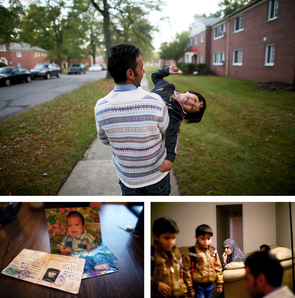 Top: Omar Al-Awad holds his daughter Taiba, 4, as they walk to their home in Toledo, Ohio, where they were recently resettled after fleeing Syria and living in a Jordanian refugee camp for two years. Left: The only possessions Omar brought from Syria were baby photos and his grandmother's identification card. Right: Omar's wife Hiyam watches as the family of five gets ready for school.