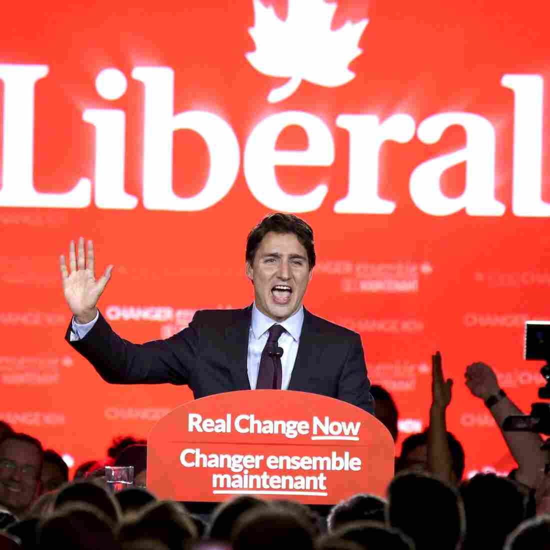 Liberal Party leader Justin Trudeau gives a victory speech in Montreal, Quebec, after winning a stunning upset over Stephen Harper in Canada's federal election Monday.
