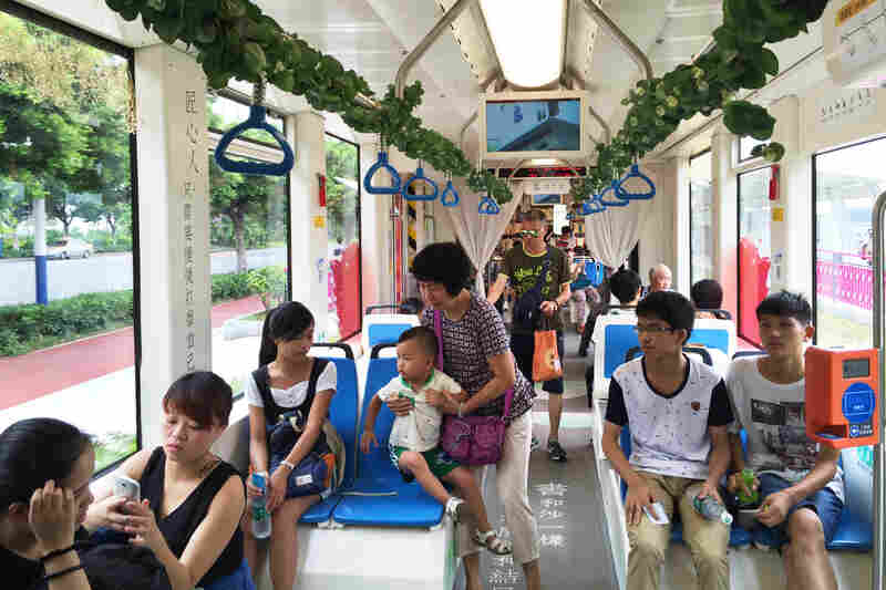 A book-themed streetcar in Guangzhou. During the trial period, passengers can ride the streetcars all day for a ticket costing the equivalent of $0.31