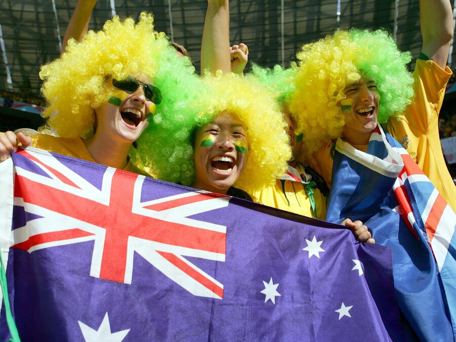 Australian national soccer team supporters at the 2006 World Cup in Munich, Germany. (Fernando Llano/AP)