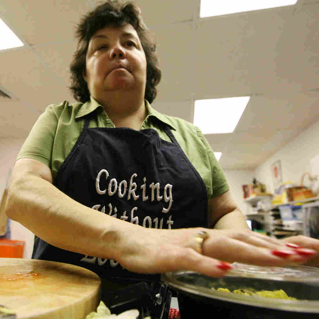 Celia Chacon, a former host of Cooking Without Looking, in the kitchen at Lighthouse of Broward, Fort Lauderdale, Fla., in 2008.  The television cooking show features chefs and guests who are blind or visually impaired.