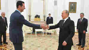 Russian President Vladimir Putin (right) greets Syrian President Bashar Assad in the Kremlin in Moscow on Tuesday. It was Assad's first known trip abroad since the Syrian war broke out in 2011. To bolster Assad, Russia recently began bombing opposition groups in Syria. However, Russian efforts to help embattled leaders have often failed.