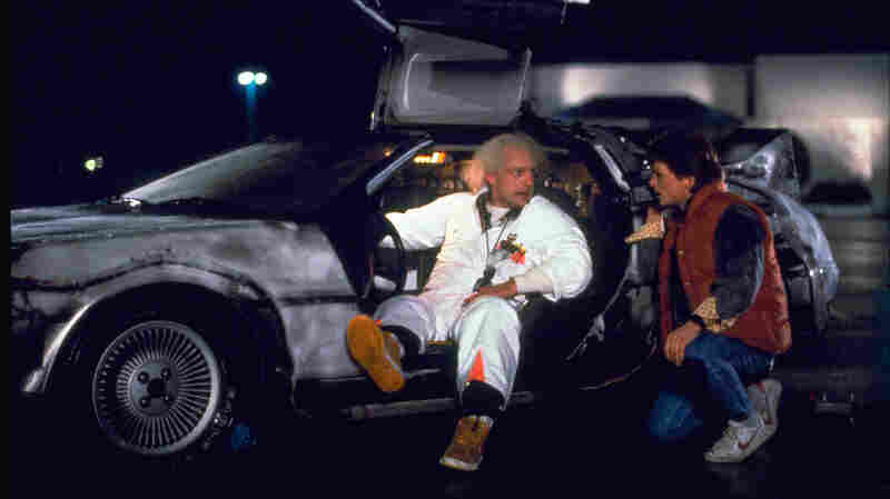 Christopher Lloyd (left) as Dr. Emmett Brown and Michael J. Fox as Marty McFly in the 1985 film Back to the Future.