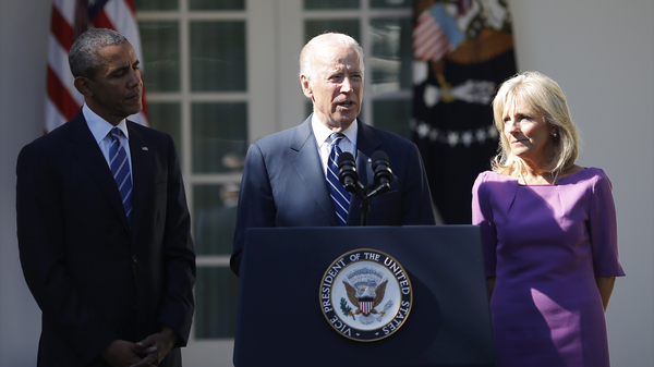 Vice President Joe Biden announces he will not seek the 2016 Democratic presidential nomination during an appearance in the White House Rose Garden with President Obama and Dr. Jill Biden.