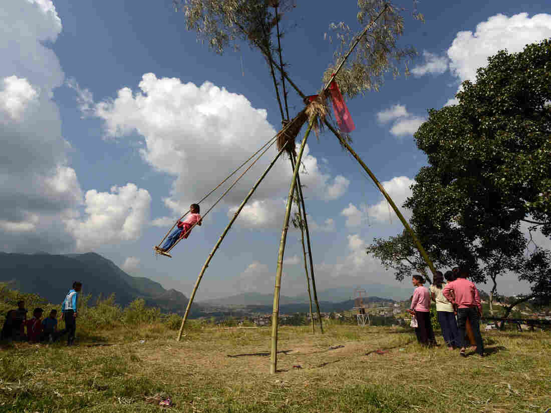 """Would you like to swing on a """"Dashain Ping""""? Towering rough-hewn swings are erected for the Hindu festival."""