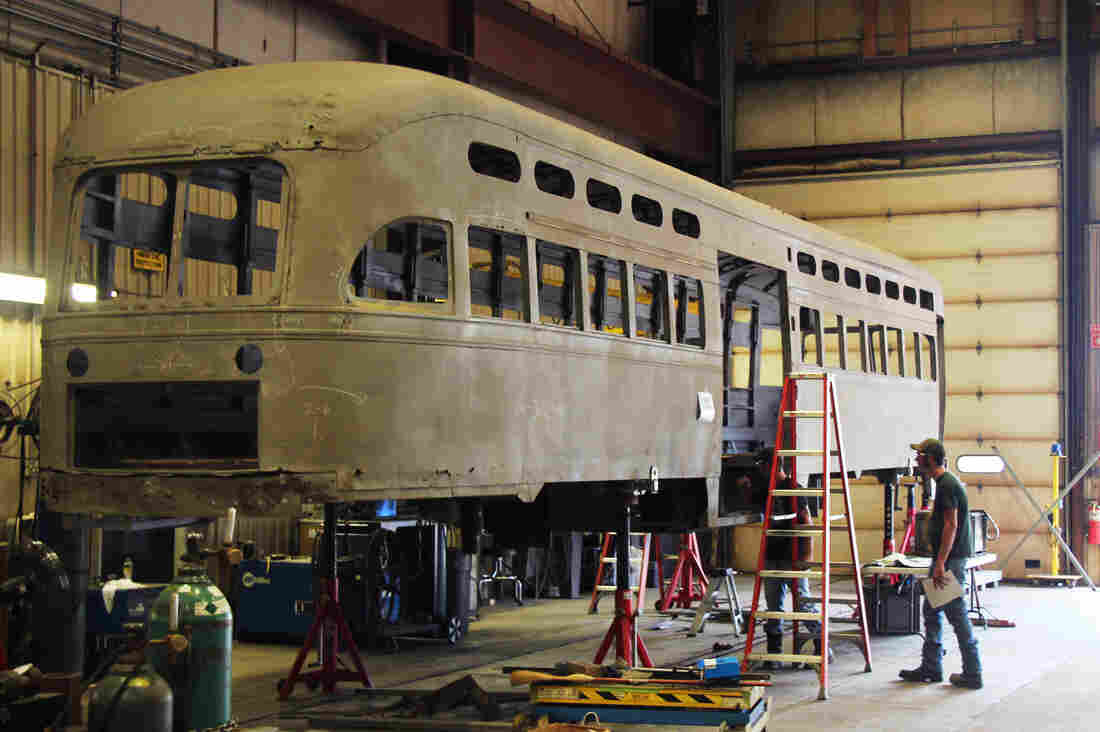 "Besides making the ""Liberty Modern"" Streetcar, which is Brookville Equipment Corp.'s hybrid streetcar that operates on-wire and off, Brookville also restores old streetcars for cities including New Orleans and San Francisco at its plant in Brookville, Pa."