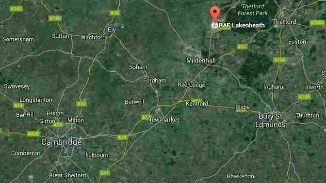 A fighter jet that took off from RAF Lakenheath airbase crashed in a rural area west of the base, near the town of Ely. The area is about 80 miles north-northeast of London.