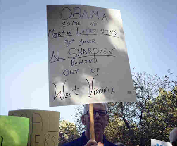 A sign greeting President Obama in Charleston, W.V.