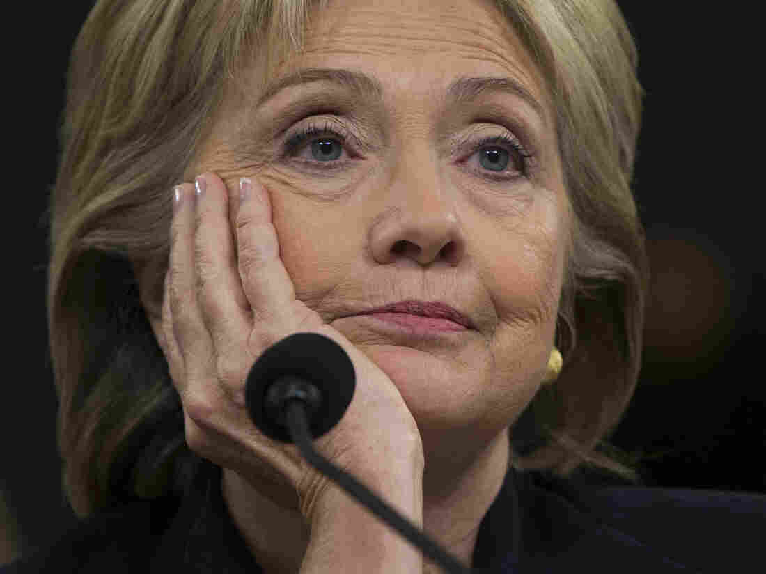 Hillary Clinton listens to questions from the House Select Committee on Benghazi.