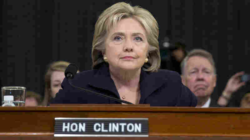Democratic presidential candidate and former Secretary of State Hillary Clinton takes her seat on Capitol Hill to testifying before the House Select Committee on Benghazi.
