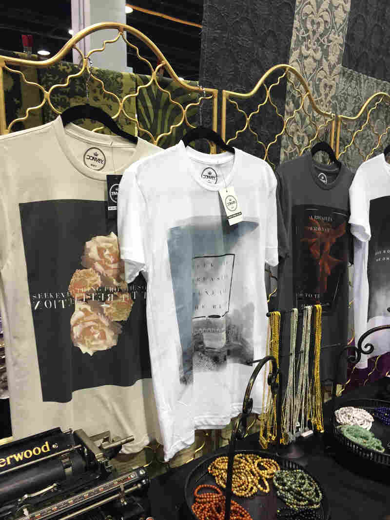 Salmaan Ather's business, Convey, sells jewelry and t-shirts with slogans from Mohammed and Rumi.
