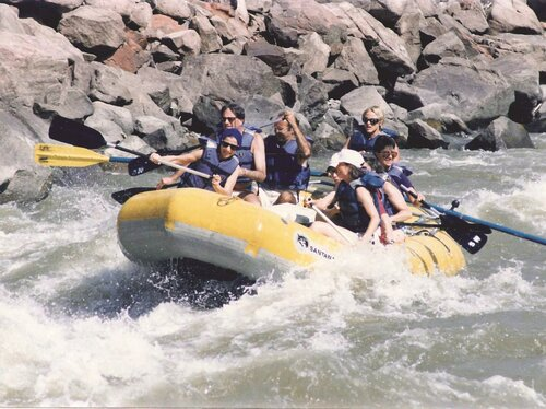 Ginsburg (center) on a whitewater rafting trip in Colorado in 1990.