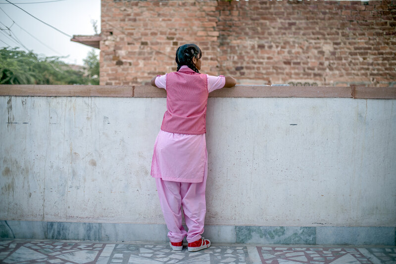 Nimmu on the terrace of the Veerni Institute. She's not looking to get out of her arranged marriage, but she does want to graduate and get a job first. That way, she says, her in-laws won't be able to boss her around.