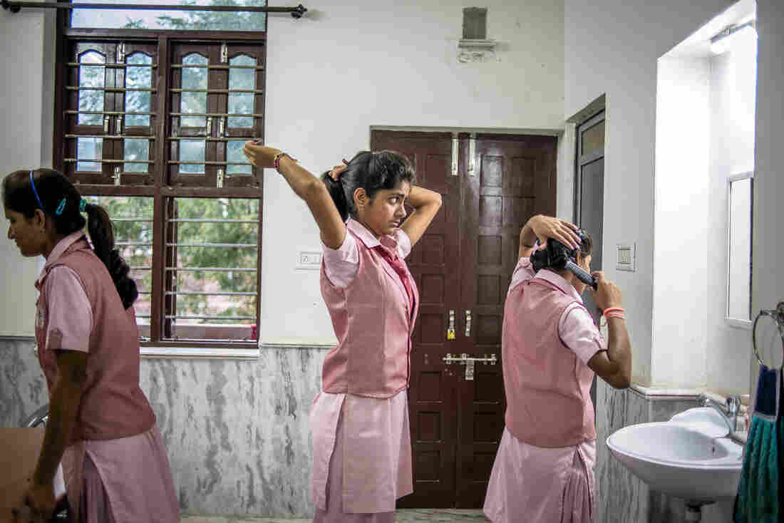 There are 70 girls at the boarding school, many of them from villages where child marriage is a common practice.