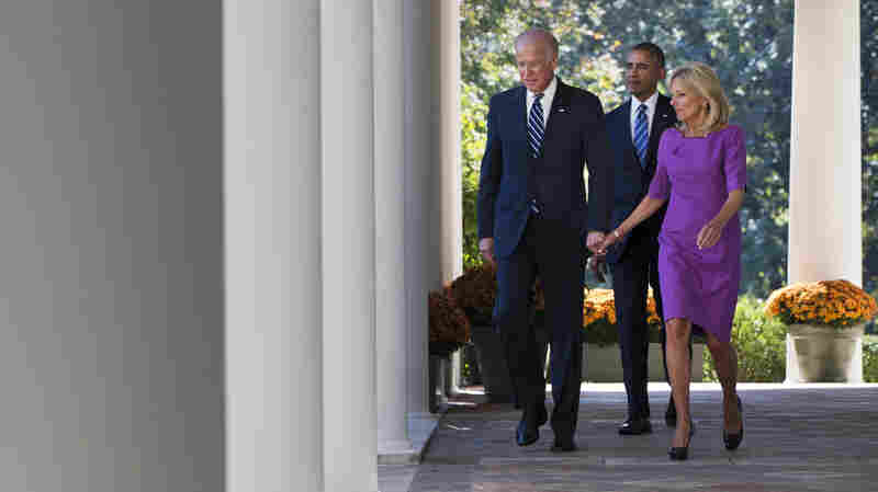 Vice President Joe Biden, with his wife Dr. Jill Biden, and President Obama walking toward the Rose Garden at the White House Wednesday before announcing he would not run for president.
