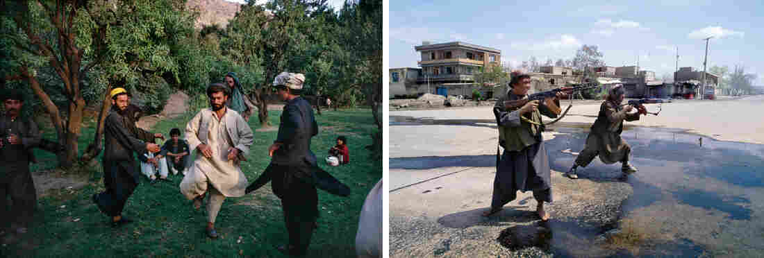 At left, Afghans perform a folk dance at a picnic in Kabul's Babur Garden in 1991. At right, mujahedeen fighters fire on another faction in Kabul in 1992.
