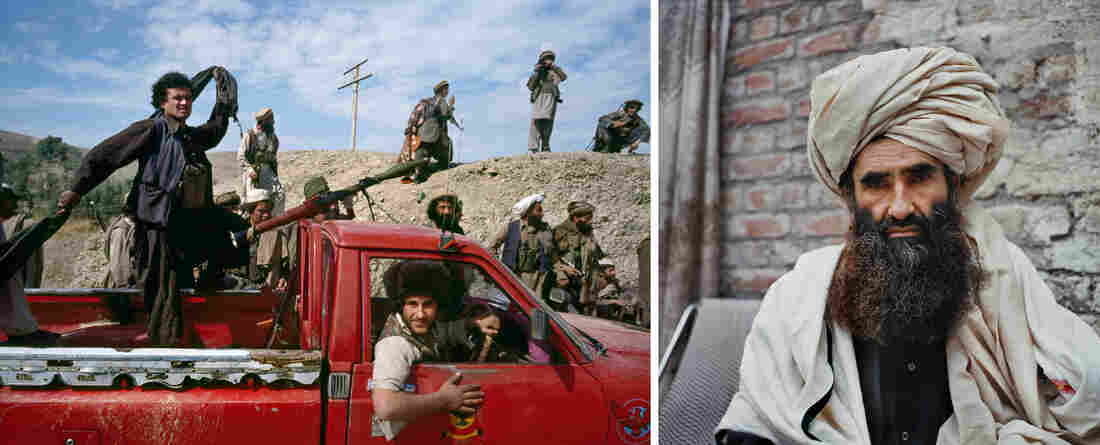 At left, mujahedeen move toward the front line during the battle for Jalalabad in 1989. At right, mujahedeen leader Jalaluddin Haqqani — who later allied with the Taliban, started a new insurgent group and was designated a terrorist — sat for a portrait in 1990.