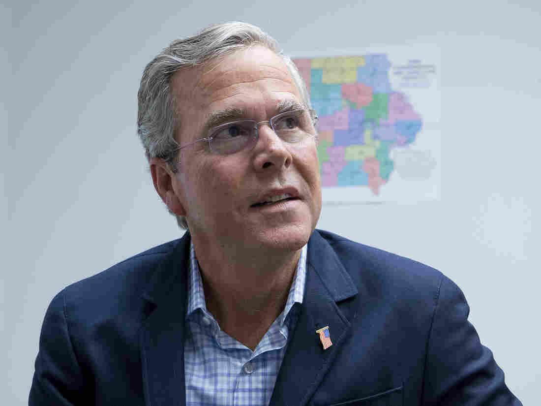 Former Florida Gov. Jeb Bush in his West Des Moines presidential campaign office.