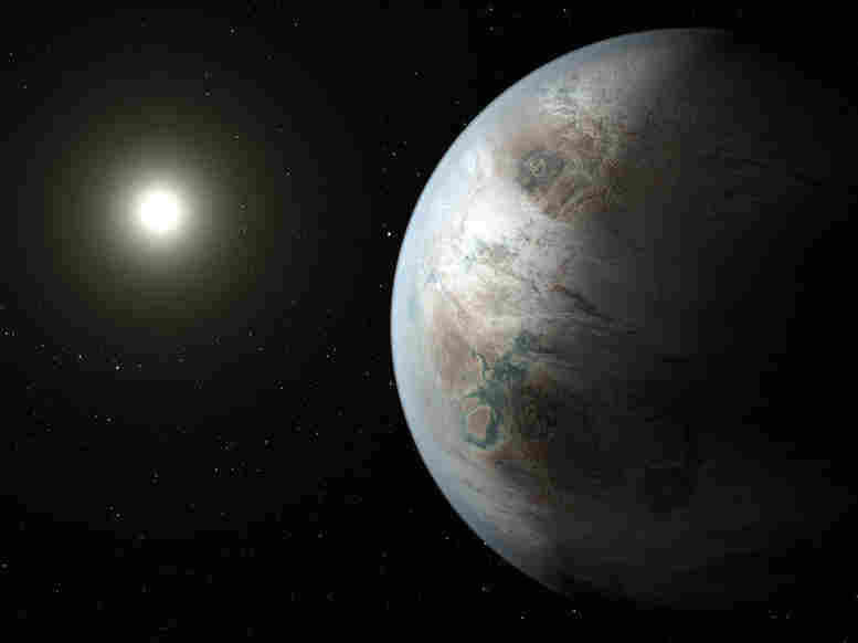 An artist's concept depicts one possible appearance of the planet Kepler-452b, the first near-Earth-size world to be found in the habitable zone of a star that is similar to our sun.