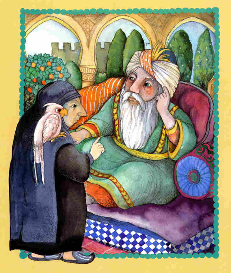 In The Happy Man's Tunic, an old woman (with a white parrot) helps save a caliph's son after he becomes seriously ill.
