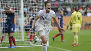 In this photo from July 13, 2011, Abby Wambach celebrates scoring her side's second goal during a semifinal match against France at the Women's World Cup in Germany. Wambach, the leading career scorer, male or female, in international soccer, announced her retirement from soccer today.