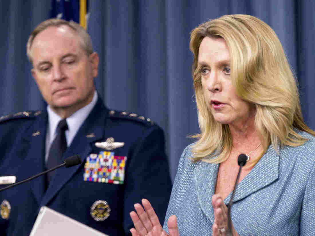 Air Force Secretary Deborah Lee James and Air Force Chief of Staff Gen. Mark Welsh III, announces that Northrop Grumman is awarded the US Air Force's next-generation long range strike bomber contract at a news conference at the Pentagon on Tuesday.