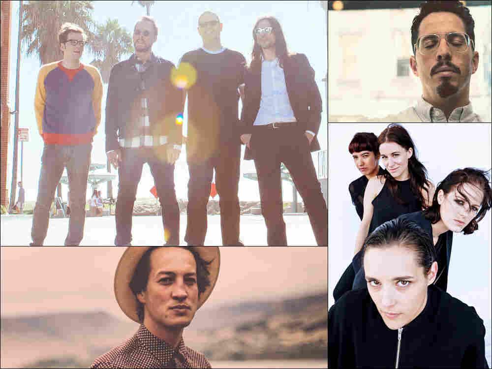 Clockwise from upper left: Weezer, J. Viewz, Savages, Marlon Williams