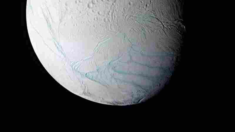 "This false-color image of Enceladus shows so-called ""tiger stripes"" across the moon's icy surface. Researchers believe the stripes are caused by an ocean beneath the ice."