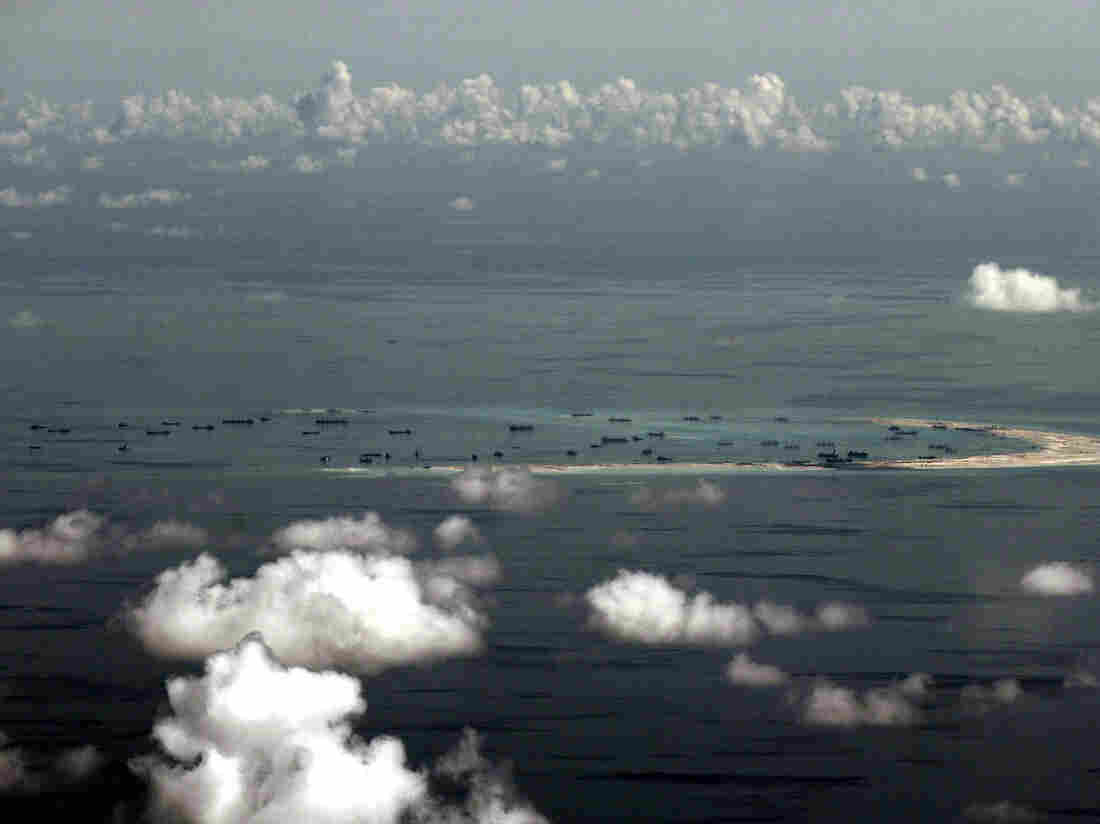 This photo taken from a U.S. military plane in May shows China's activities at Mischief Reef in the Spratly Islands in the South China Sea.