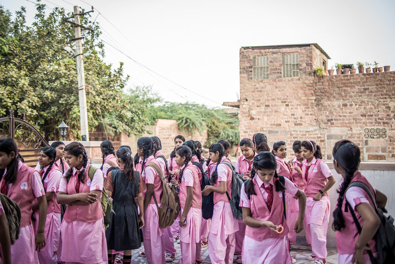 Some of the 70 students at the Veerni Institute gather in the courtyard, waiting for the first bell to ring. (Poulomi Basu/VII Mentor/for NPR)