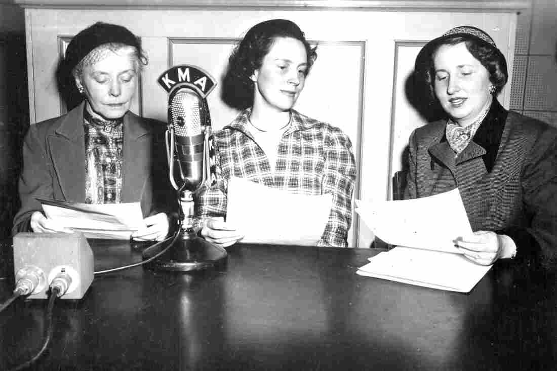 Evelyn Birkby interviews guests on her KMA radio program, Down a Country Lane, in 1951 in  Shenandoah, Iowa.