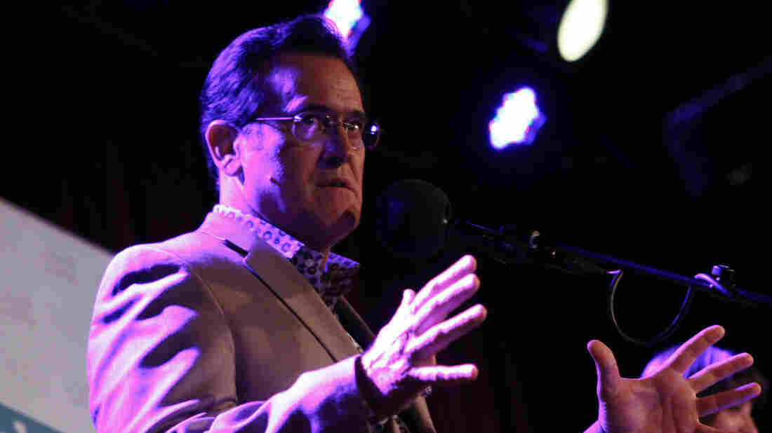 Bruce Campbell and Lucy Lawless perform on the Ask Me Another stage at The Bell House in Brooklyn, New York.