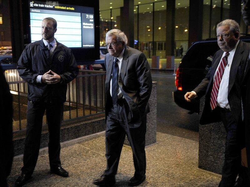 Former House Speaker Dennis Hastert, center, arrives at the federal courthouse Wednesday in Chicago. (Matt Marton /AP)