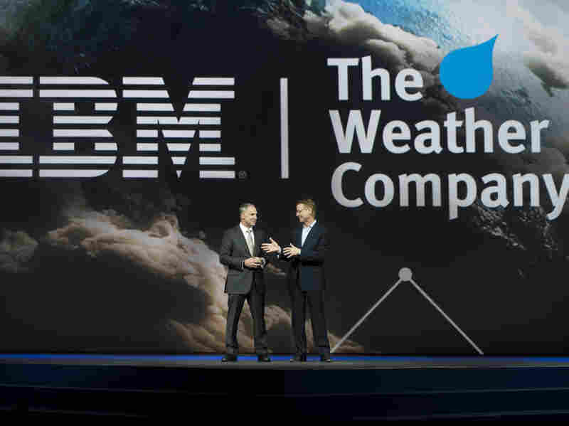 IBM Senior Vice President Bob Picciano and The Weather Co.'s chairman & CEO, David Kenny, speak at the IBM Insight Conference in Las Vegas on Wednesday.