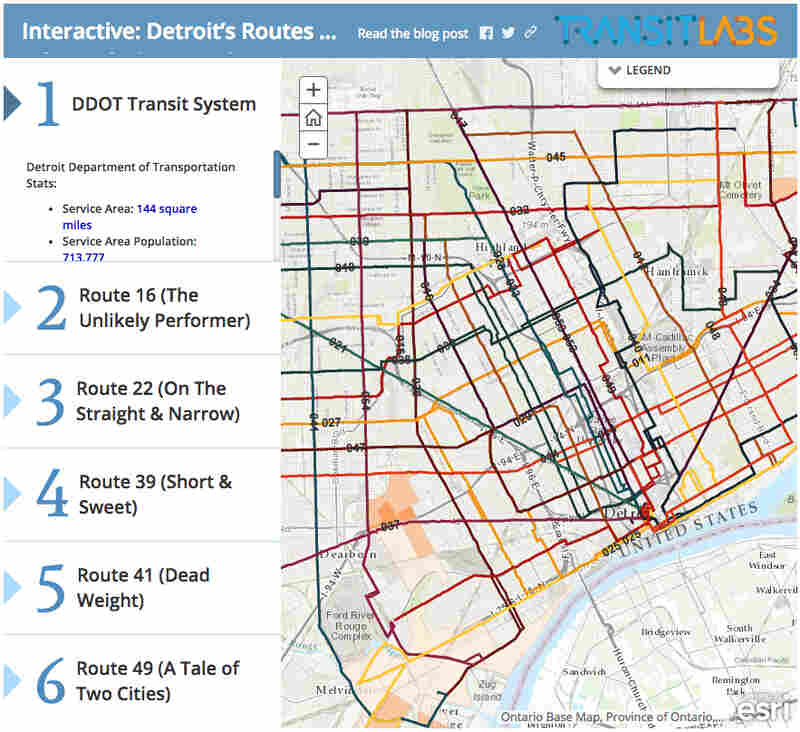 Transit Labs produced an interactive graphic for a deep look into Detroit's public transportation system.
