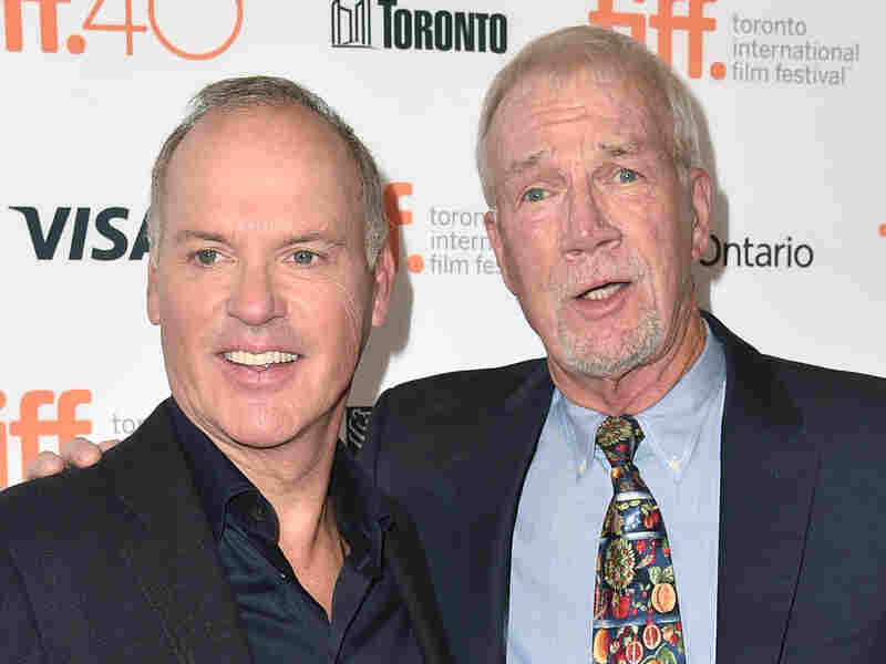 Actor Michael Keaton (left) portrays Globe journalist Walter Robinson (right) in Spotlight.