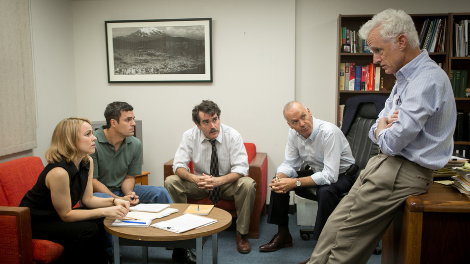 Rachel McAdams, Mark Ruffalo, Brian d'Arcy James, Michael Keaton and John Slattery play <em>Boston Globe</em> journalists in the film,<em> Spotlight</em>. (Kerry Hayes/Open Road Films)