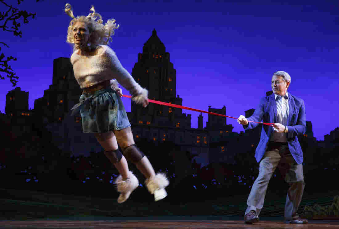 Annaleigh Ashford plays the title character — a poodle mix — in Sylvia, at the Cort Theatre in Broadway. Matthew Broderick plays the man who finds Sylvia in Central Park.